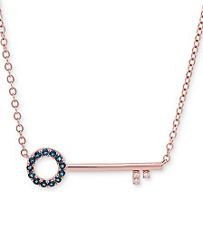 """London Blue Topaz (1/4 ct. t.w) & Diamond Accent 18"""" Key Pendant Necklace in 18k Rose Gold over Sterling Silver"""