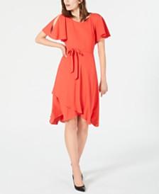 Anne Klein Flutter-Sleeve Dress