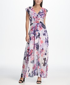 DKNY Floral Chiffon Ruffle Cap Sleeve Maxi Dress
