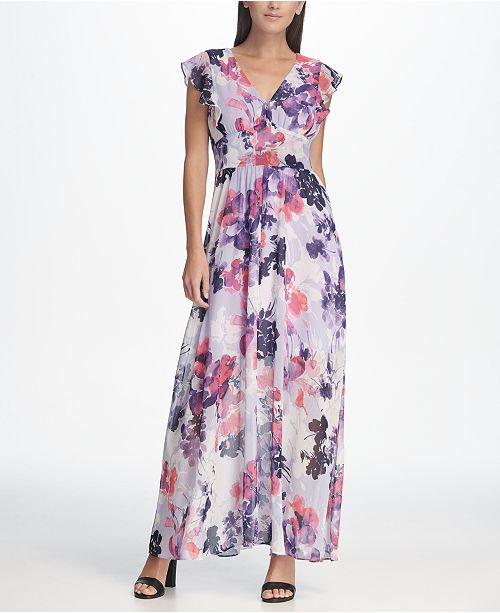 5e4151fc6e211 DKNY Floral Chiffon Ruffle Cap Sleeve Maxi Dress & Reviews - Dresses ...