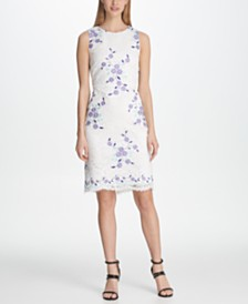 DKNY Floral Embroidered Lace Sheath Dress, Created for Macy's
