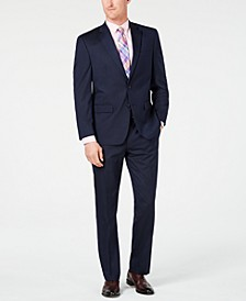 Men's Classic-Fit Stretch Navy Stripe Suit, Created for Macy's