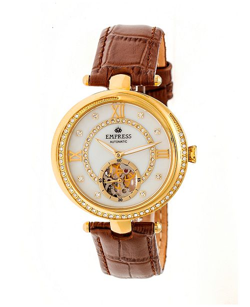 Empress Stella Automatic Brown Leather Watch 39mm