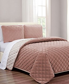 Diamond Quilt 3-Pc. Velvet Coverlet Sets