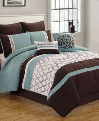 6 Piece Riverbrook Home Grand Comforter Set Full Brown//Ivory