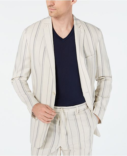 INC International Concepts INC Men's Slim-Fit Striped Blazer, Created for Macy's