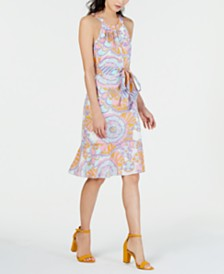 Trina Turk Coral Gables Cotton Printed Racerback Dress