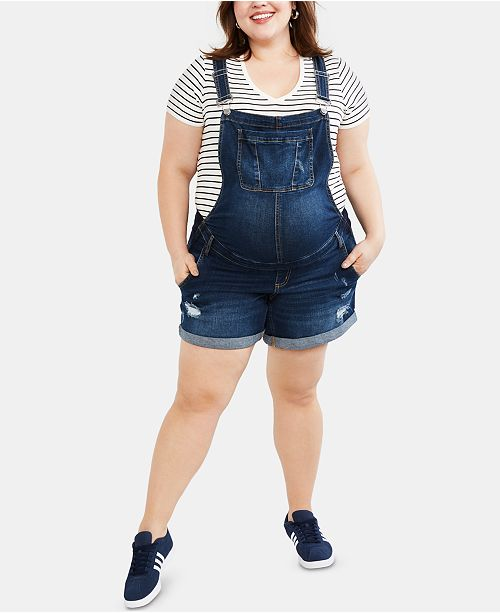 Motherhood Maternity Plus Size Denim Overalls