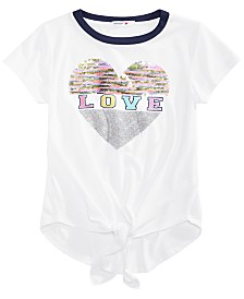 Beautees Big Girls Flip Sequin Tie-Front T-Shirt