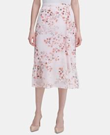 Calvin Klein Ruffled Floral-Print Midi Skirt
