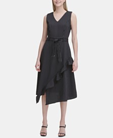 Calvin Klein Striped Ruffle-Trim A-Line Midi Dress