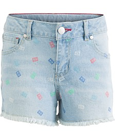 Tommy Hilfiger Big Girls Logo-Print Denim Shorts