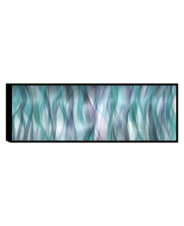 "Chic Home Decor Blue Flames 1 Piece Framed Canvas Wall Art Abstract -8"" x 23"""