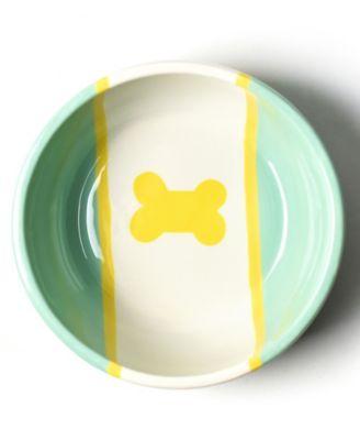 Mint Color Block Dog Bone Small Bowl