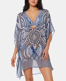 Jessica Simpson Printed Chiffon Border Cover-Up Dress
