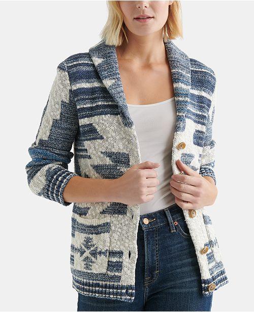 Lucky Brand Cotton Jacquard Cardigan