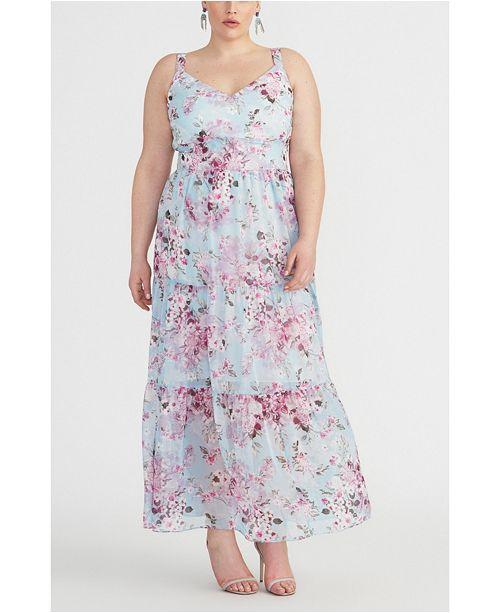 RACHEL Rachel Roy Plus Size Floral Tiered Maxi Dress