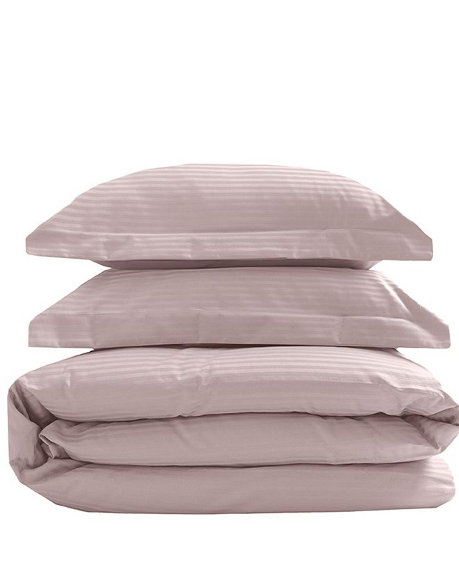 Elite Home Silky Soft Long Staple Cotton Stripe King Duvet Sets