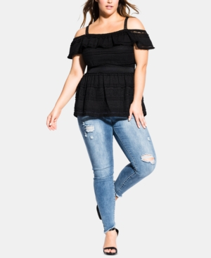 City Chic Tops TRENDY PLUS SIZE RUFFLED COLD-SHOULDER TOP