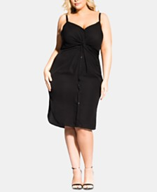 City Chic Trendy Plus Size Twist-Front Dress