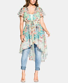 City Chic Trendy Plus Size Budapest Printed Jacket
