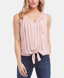 Karen Kane Sleeveless Button-Front Tie-Hem Top