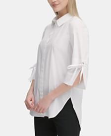 Calvin Klein Tie-Sleeve Collared Shirt