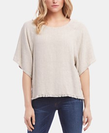 Karen Kane Elbow-Sleeve Fringe-Hem Top