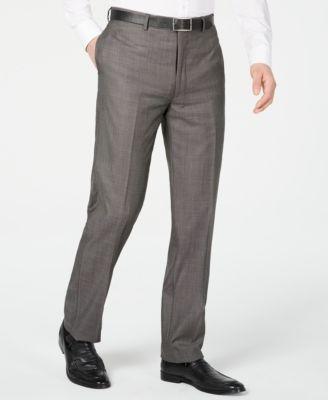 Men's X Slim-Fit Stretch Charcoal Mini Grid Suit Pants