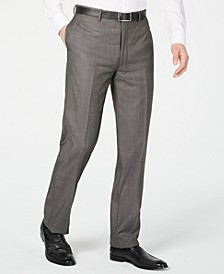 Men's X Slim-Fit Stretch Charcoal Mini Grid Suit Pants