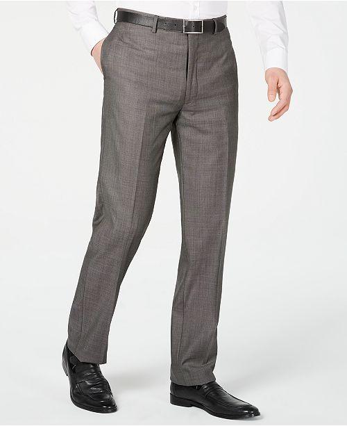 Calvin Klein Men's X Slim-Fit Stretch Charcoal Mini Grid Suit Pants