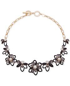 "Anne Klein Gold-Tone Jet Black Stone 17"" Frontal Necklace"