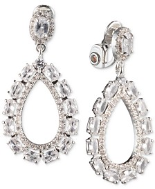 Anne Klein Silver-Tone Crystal Large Teardrop Clip-On Earrings