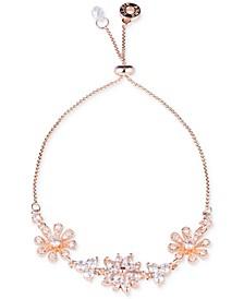 Rose Gold-Tone Crystal Floral Slider Bracelet