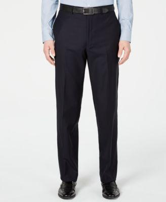 Men's Modern-Fit Stretch Midnight Blue Stripe Suit Pants