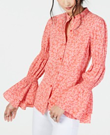 MICHAEL Michael Kors Printed Smocked Bell-Sleeve Top