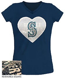 5th & Ocean Big Girls Seattle Mariners Flip Sequin T-Shirt