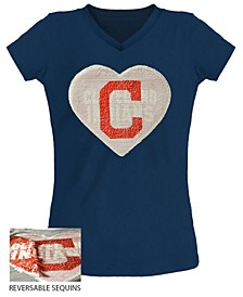 Big Girls Cleveland Indians Flip Sequin T-Shirt