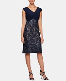 Alex Evenings Petite Embellished Lace Sheath Dress