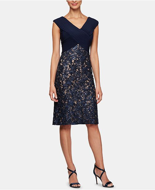 Alex Evenings Sequinned-Lace Sheath Dress
