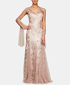 Petite Sequined Embroidered Gown & Shawl