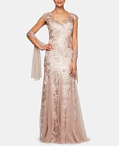 787857748b04f Alex Evenings Embellished-Lace Embroidered Illusion Gown & Shawl