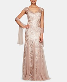 627d5221 Alex Evenings Petite Sequined Embroidered Gown & Shawl
