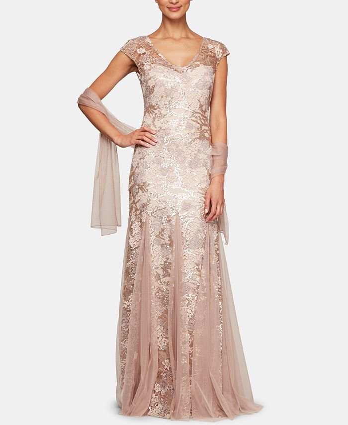 Alex Evenings - Embellished-Lace Embroidered Illusion Gown & Shawl