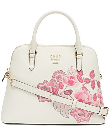 DKNY Whitney Leather Floral Dome Satchel, Created for Macy's