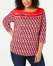 Charter Club Plus Size Cotton Border-Print Top, Created for Macy's
