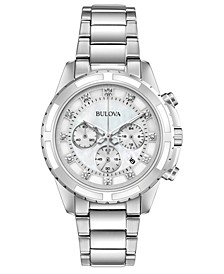 Women's Chronograph Diamond-Accent Stainless Steel Bracelet Watch 40mm, Created for Macy's