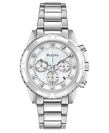 Bulova Women's Chronograph Diamond-Accent Stainless Steel Bracelet Watch 40mm, Created for Macy's