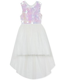 Rare Editions Little Girls Sequin High-Low Hem Dress