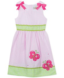 Rare Editions Little Girls Gingham Seersucker Butterfly Appliqué Dress